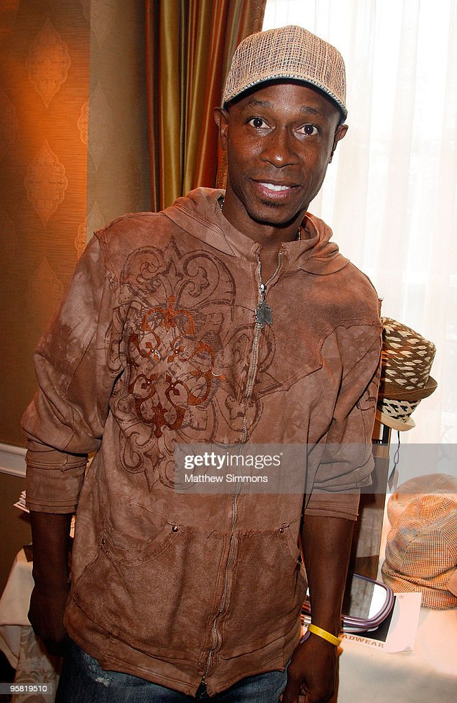 Baseball player Kenny Lofton poses at the Block Headwear display during the HBO Luxury Lounge in honor of the 67th annual Golden Globe Awards held at the Four Seasons Hotel on January 16, 2010 in Beverly Hills, California.