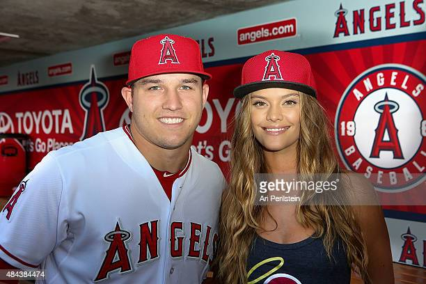 Baseball player Mike Trout and Model Nina Agdal at Angel Stadium on August 17 2015 in Anaheim California