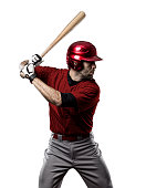 Baseball Player with a red uniform on white background.