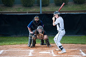 Baseball Player Ready To Play With Bat At Home Plate. Focus on the batter.