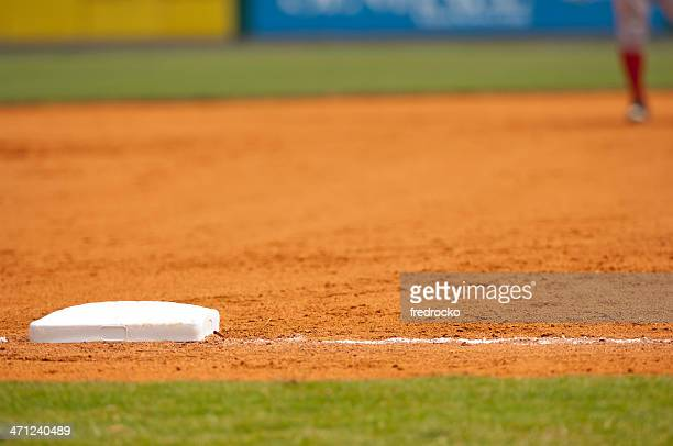 Baseball Player Running to third base on Baseball Field during Baseball Game