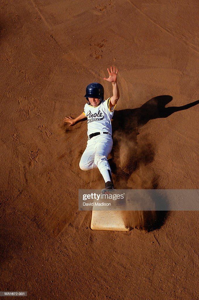 Baseball, player sliding into plate, elevated view