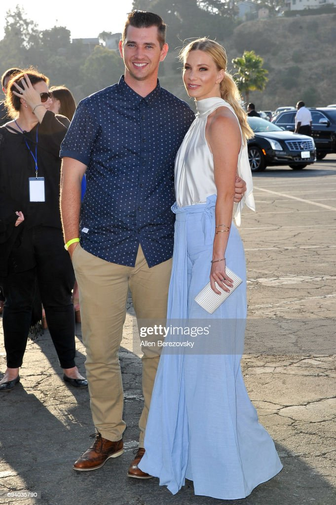 Baseball player Taylor Hubbell and actress Heather Morris attend Los Angeles Dodgers Foundation's 3rd Annual Blue Diamond Gala at Dodger Stadium on June 8, 2017 in Los Angeles, California.
