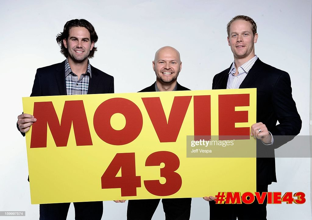 Baseball players Casey Kelly, Cody Ross and Justin Morneau pose for a portrait during Relativity Media's 'Movie 43' Los Angeles premiere at TCL Chinese Theatre on January 23, 2013 in Hollywood, California.