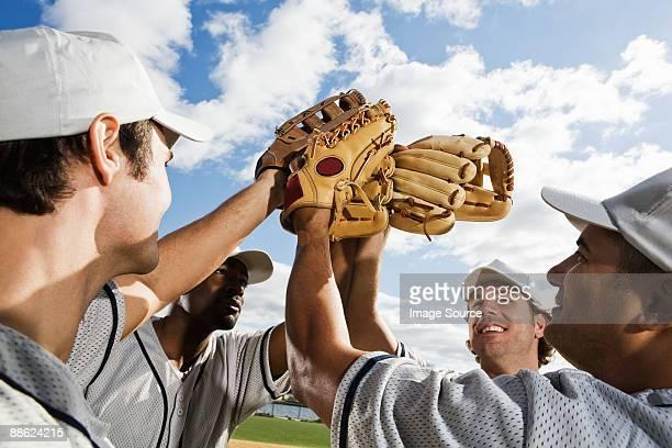 Baseball players cheering