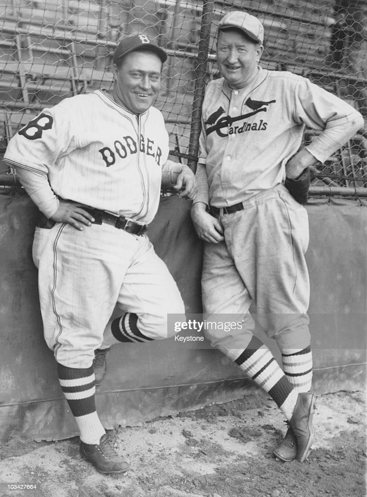 Baseball players Hack Wilson of the Brooklyn Dodgers and Dazzy Vance of the St Louis Cardinals at Ebbets Field in Brooklyn on May 02, 1933.