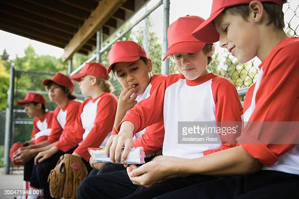 Baseball players (9-14) in dugout, three boys eating sunflower seeds