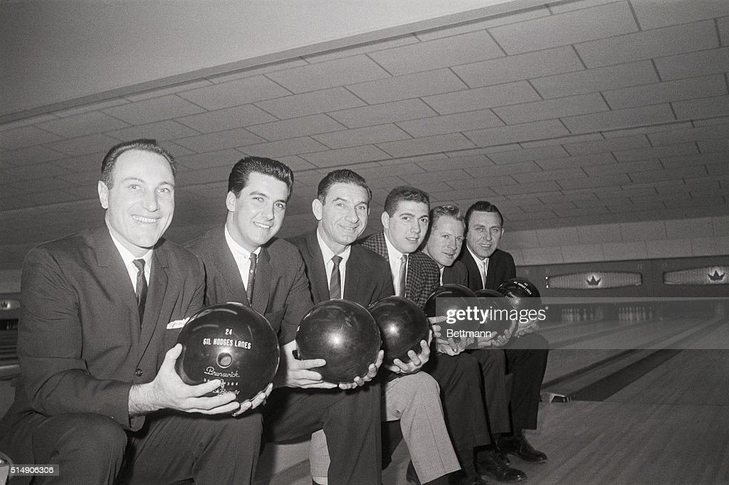 Baseball players (from left) Joe Pignatano, Bobby Aspromonte, Sid Gordon, Bobby Giallombardo, Whitey Ford and Gil Hodges prepare to try their skill at bowling.