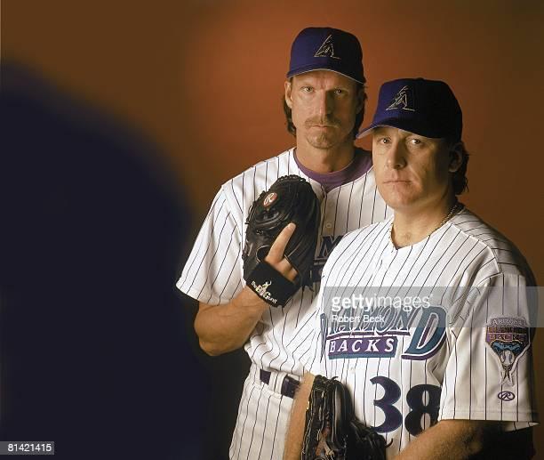 Baseball Portrait of Arizona Diamondbacks Randy Johnson and Curt Schilling Phoenix AZ 8/3/2000