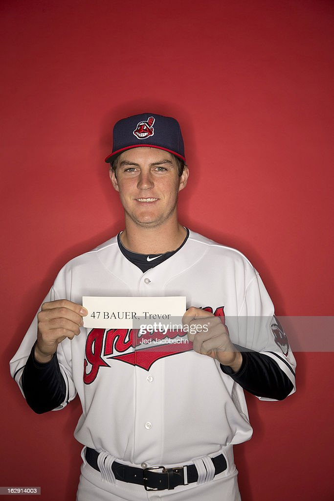 68cc308bb ... Portrait of Cleveland Indians pitcher Trevor Bauer (47) during spring  training photo shoot at ...