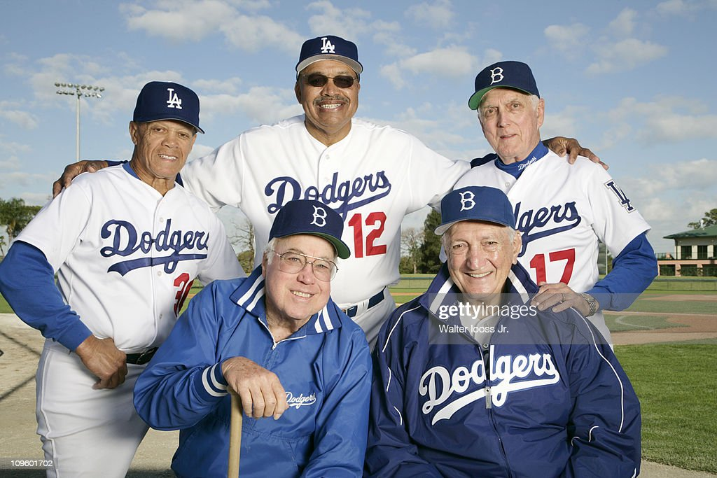 Portrait of former Brooklyn Dodgers and Los Angeles Dodgers players (L-R, top) <a gi-track='captionPersonalityLinkClicked' href=/galleries/search?phrase=Maury+Wills&family=editorial&specificpeople=221445 ng-click='$event.stopPropagation()'>Maury Wills</a> (30), Tommy Davis (12), and Carl Erskine (17) with <a gi-track='captionPersonalityLinkClicked' href=/galleries/search?phrase=Duke+Snider&family=editorial&specificpeople=93319 ng-click='$event.stopPropagation()'>Duke Snider</a> (4) and <a gi-track='captionPersonalityLinkClicked' href=/galleries/search?phrase=Ralph+Branca&family=editorial&specificpeople=93978 ng-click='$event.stopPropagation()'>Ralph Branca</a> (13) during photo shoot at Holman Stadium in Dodgertown.Vero Beach, FL 2/8/2007CREDIT: Walter Iooss Jr.