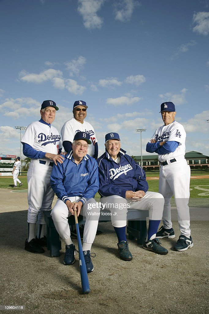 Portrait of former Brooklyn Dodgers and Los Angeles Dodgers players (L-R, top) Tommy Davis (12), Carl Erskine (17), and <a gi-track='captionPersonalityLinkClicked' href=/galleries/search?phrase=Maury+Wills&family=editorial&specificpeople=221445 ng-click='$event.stopPropagation()'>Maury Wills</a> (30) with <a gi-track='captionPersonalityLinkClicked' href=/galleries/search?phrase=Duke+Snider&family=editorial&specificpeople=93319 ng-click='$event.stopPropagation()'>Duke Snider</a> (4) and <a gi-track='captionPersonalityLinkClicked' href=/galleries/search?phrase=Ralph+Branca&family=editorial&specificpeople=93978 ng-click='$event.stopPropagation()'>Ralph Branca</a> (13) during photo shoot at Holman Stadium in Dodgertown.Vero Beach, FL 2/8/2007CREDIT: Walter Iooss Jr.