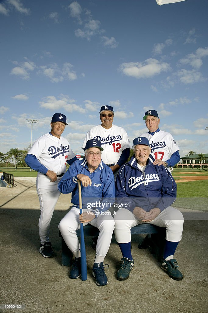 Portrait of former Brooklyn Dodgers and Los Angeles Dodgers players (L-R, top) <a gi-track='captionPersonalityLinkClicked' href=/galleries/search?phrase=Maury+Wills&family=editorial&specificpeople=221445 ng-click='$event.stopPropagation()'>Maury Wills</a> (30), Tommy Davis (12), and Carl Erskine (17) with <a gi-track='captionPersonalityLinkClicked' href=/galleries/search?phrase=Duke+Snider&family=editorial&specificpeople=93319 ng-click='$event.stopPropagation()'>Duke Snider</a> (4) and Ralph Branca (13) during photo shoot at Holman Stadium in Dodgertown.Vero Beach, FL 2/8/2007CREDIT: Walter Iooss Jr.