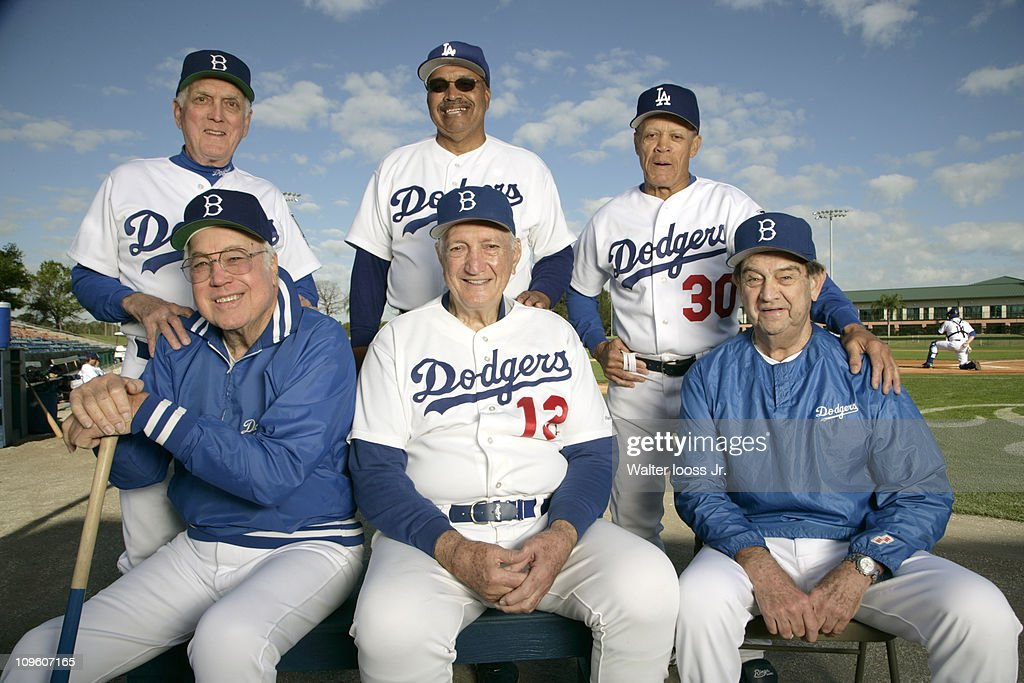 Portrait of former Brooklyn Dodgers and Los Angeles Dodgers players (L-R, top) Tommy Davis (12), Carl Erskine (17), and <a gi-track='captionPersonalityLinkClicked' href=/galleries/search?phrase=Maury+Wills&family=editorial&specificpeople=221445 ng-click='$event.stopPropagation()'>Maury Wills</a> (30) with (bottom) <a gi-track='captionPersonalityLinkClicked' href=/galleries/search?phrase=Duke+Snider&family=editorial&specificpeople=93319 ng-click='$event.stopPropagation()'>Duke Snider</a> (4), <a gi-track='captionPersonalityLinkClicked' href=/galleries/search?phrase=Ralph+Branca&family=editorial&specificpeople=93978 ng-click='$event.stopPropagation()'>Ralph Branca</a> (13), and Clem Labine (41) during photo shoot at Holman Stadium in Dodgertown.Vero Beach, FL 2/8/2007CREDIT: Walter Iooss Jr.