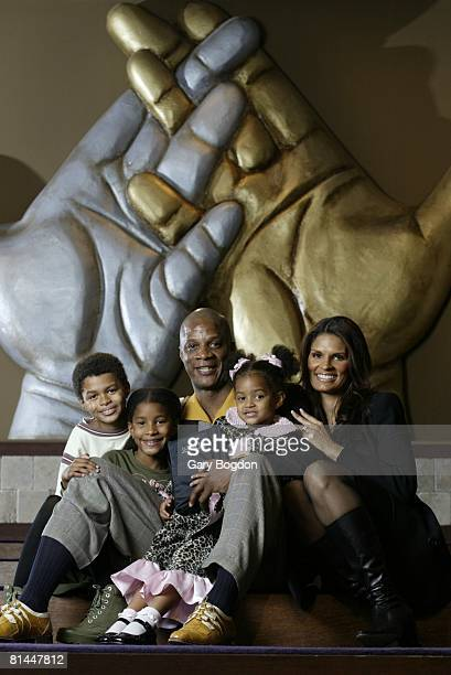 Baseball Portrait of former player Darryl Strawberry with family after church Tampa FL 12/7/2003