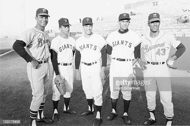Portrait of Hispanic MLB players Milwaukee Braves Felipe Alou San Francisco Giants Matty Alou Juan Marichal Jesus Alou Braves Rico Carty during photo...