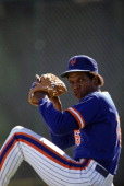 Portrait of New York Mets Dwight Gooden in action pitching during spring training photo shoot at Al Lang Field St Petersburg FL CREDIT Neil Leifer