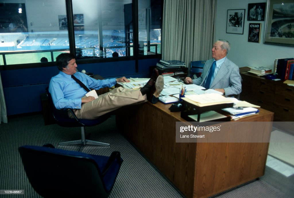 Portrait of New York Yankees owner <a gi-track='captionPersonalityLinkClicked' href=/galleries/search?phrase=George+Steinbrenner&family=editorial&specificpeople=220576 ng-click='$event.stopPropagation()'>George Steinbrenner</a> and general manager Gabe Paul at Yankee Stadium. Bronx, NY 8/31/1977