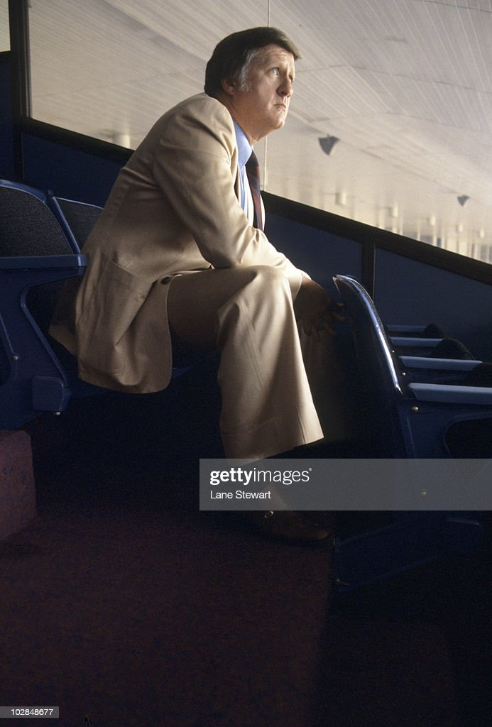 Portrait of New York Yankees owner <a gi-track='captionPersonalityLinkClicked' href=/galleries/search?phrase=George+Steinbrenner&family=editorial&specificpeople=220576 ng-click='$event.stopPropagation()'>George Steinbrenner</a> during game at Yankee Stadium. Bronx, NY 8/31/1977