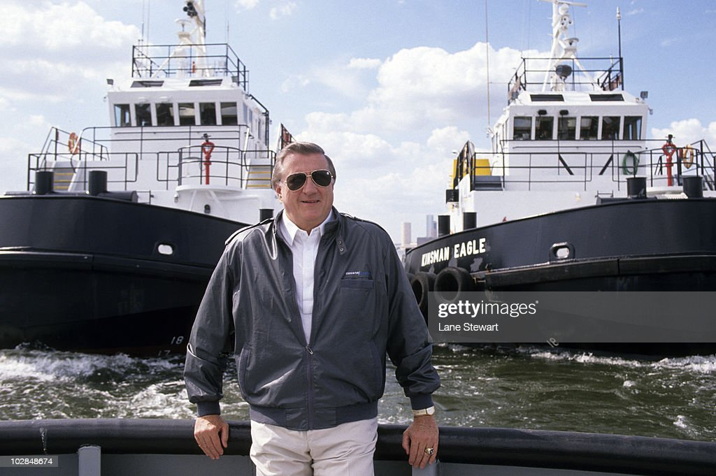 Portrait of New York Yankees owner <a gi-track='captionPersonalityLinkClicked' href=/galleries/search?phrase=George+Steinbrenner&family=editorial&specificpeople=220576 ng-click='$event.stopPropagation()'>George Steinbrenner</a> on tugboat. New York, NY 4/27/1990