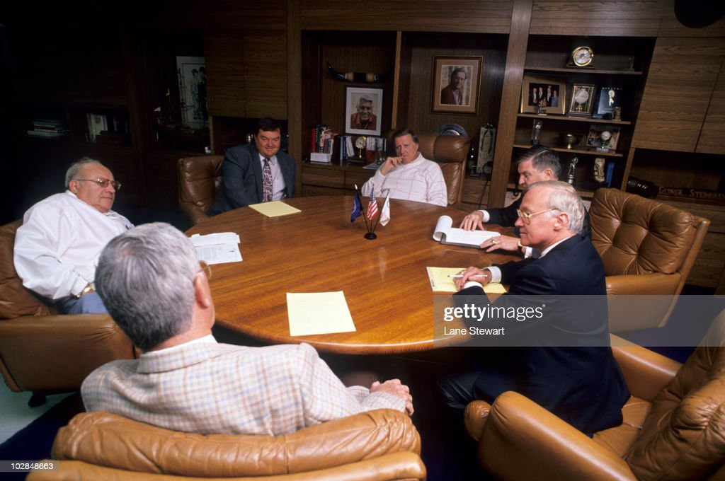 Portrait of New York Yankees owner <a gi-track='captionPersonalityLinkClicked' href=/galleries/search?phrase=George+Steinbrenner&family=editorial&specificpeople=220576 ng-click='$event.stopPropagation()'>George Steinbrenner</a> during meeting with (R-L) Jack Lawn, Leonard Kleinman, Pete Peterson and others. New York, NY 4/27/1990