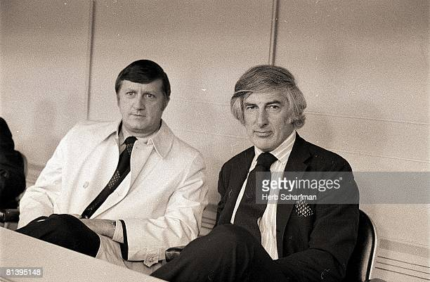 Baseball Portrait of New York Yankees owners George Steinbrenner and Mike Burke at Yankee Stadium Bronx NY 5/3/1973