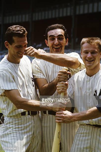 Portrait of New York Yankees Phil Linz Joe Pepitone and Tom Tresh during photo shoot before game vs Kansas City Athletics at Yankee Stadium Bronx NY...