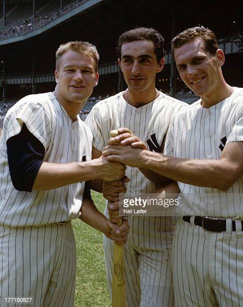 Portrait of New York Yankees Tom Tresh Joe Pepitone and Phil Linz during photo shoot before game vs Kansas City Athletics at Yankee Stadium Bronx NY...