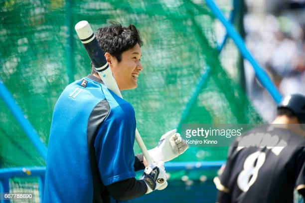 Portrait of NipponHam Fighters Shohei Ohtani on field during batting practice before game vs Chiba Lotte Marines at Chiba Marine Stadium Otani is the...