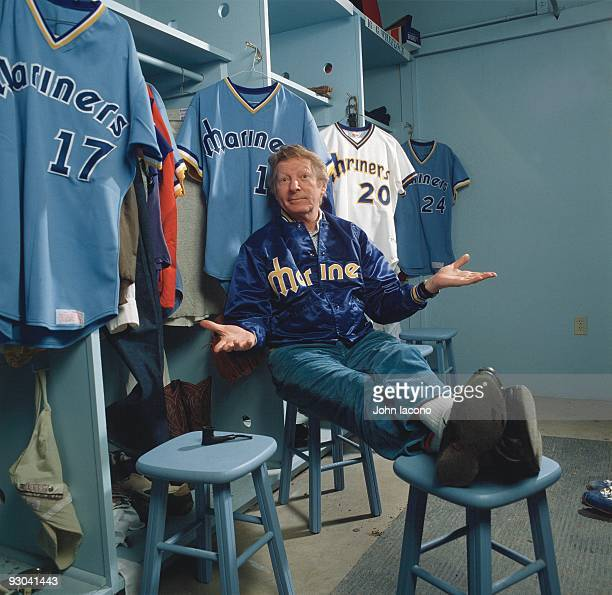Portrait of Seattle Mariners owner Danny Kaye in locker room during spring training photo shoot at Tempe Diablo Stadium Kaye was an actor singer and...