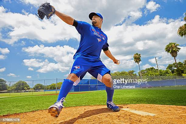 Portrait of Toronto Blue Jays pitcher Johan Santana on mound during rehab assignment for shoulder injury at Florida Auto Exchange Stadium Dunedin FL...