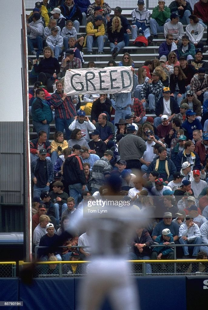 Post MLB Strike View of fan in stands holding GREED sign during game Milwaukee Brewers vs Chicago White Sox game Milwaukee WI 4/26/1995 CREDIT Tom...