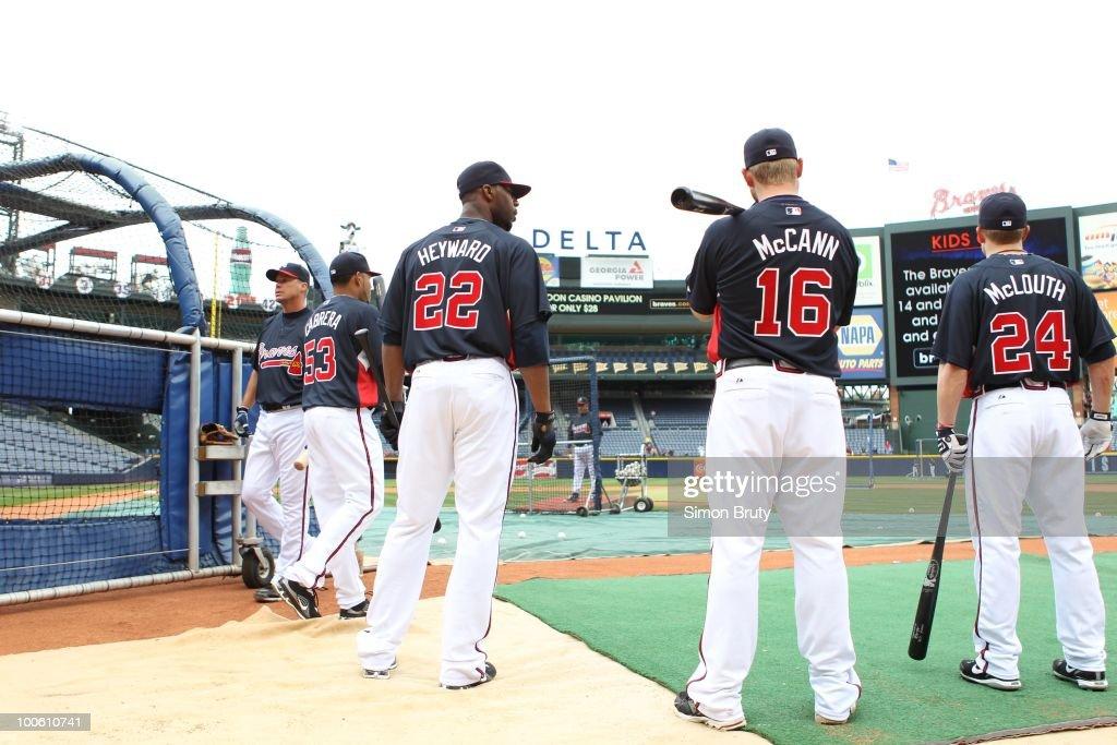 Rear view of Atlanta Braves Jason Heyward (22) Brian McCann (16) and Nate McLouth (24) during batting practice before game vs Chicago Cubs. Atlanta, GA 4/8/2010