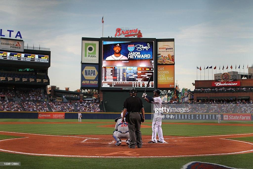 Rear view of Atlanta Braves Jason Heyward (22) during at bat vs Chicago Cubs. Atlanta, GA 4/7/2010