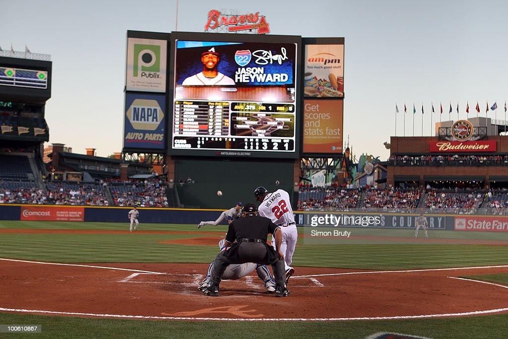 Rear view of Atlanta Braves Jason Heyward (22) in action, at bat vs Chicago Cubs. Atlanta, GA 4/8/2010