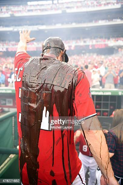 Rear view of Washington Nationals Matt Scherzer covered in chocolate syrup after pitching no hitter vs Pittsburgh Pirates at Nationals Park...