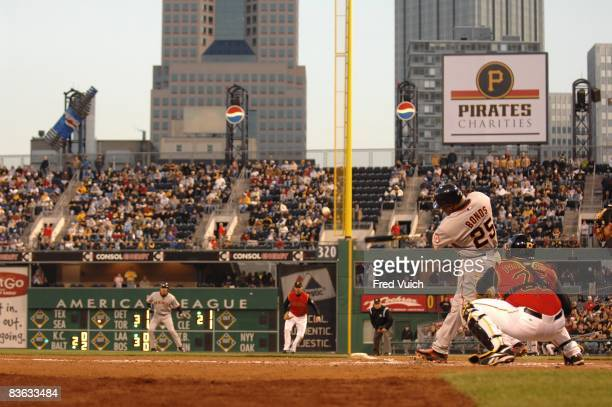 San Francisco Giants Barry Bonds in action hitting home run during at bat vs Pittsburgh Pirates View of PNC Park stadium Pittsburgh PA 4/13/2007...