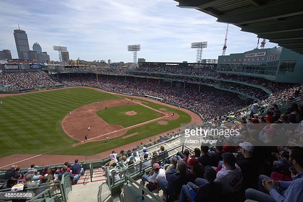 Scenic partial view of Boston Red Sox fans in stands during game vs Baltimore Orioles at Fenway Park First anniversary of the Boston Marathon...