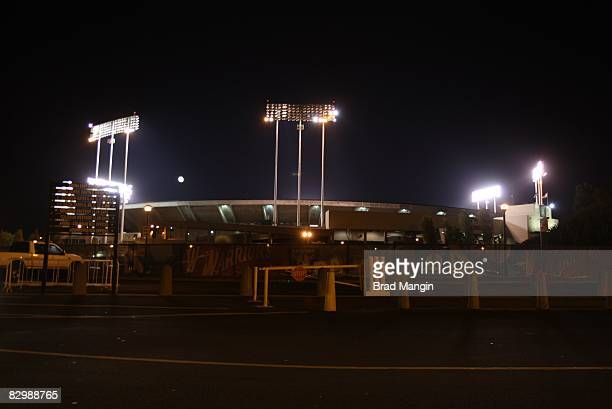 Scenic view of Alameda County Coliseum at night after Oakland Athletics vs Los Angeles Angels of Anaheim Oakland CA 9/17/2008 CREDIT Brad Mangin
