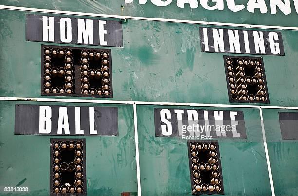 baseball scoreboard, close-up