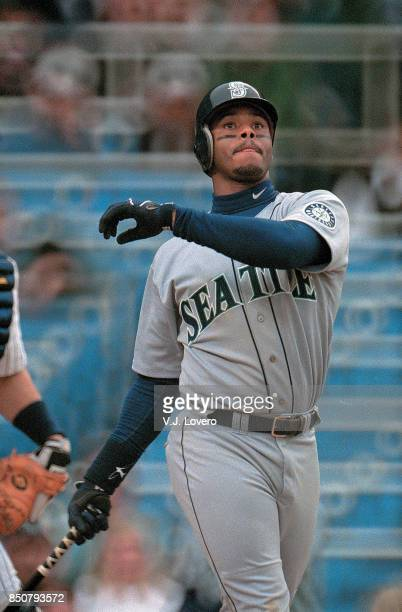 Seattle Mariners Ken Griffey Jr in action at bat vs New York Yankees at Yankee Stadium Bronx NY J Lovero