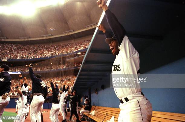 Seattle Mariners Ken Griffey Jr victorious in dugout after game vs Oakland Athletics at Seattle Kingdome Seattle WA CREDIT Rich Frishman