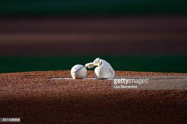 A baseball sits on the mound before the game between the Los Angeles Angels of Anaheim and the Minnesota Twins at Angel Stadium of Anaheim on June 15...