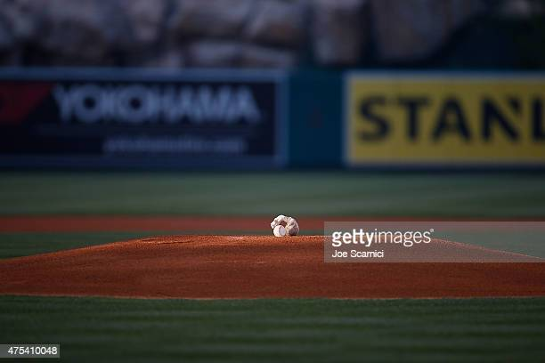 A baseball sits on the pitching mound prior to the game between the Detroit Tigers and the Los Angeles Angels at Angel Stadium of Anaheim on May 30...