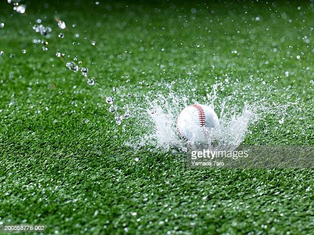 Baseball splashing water