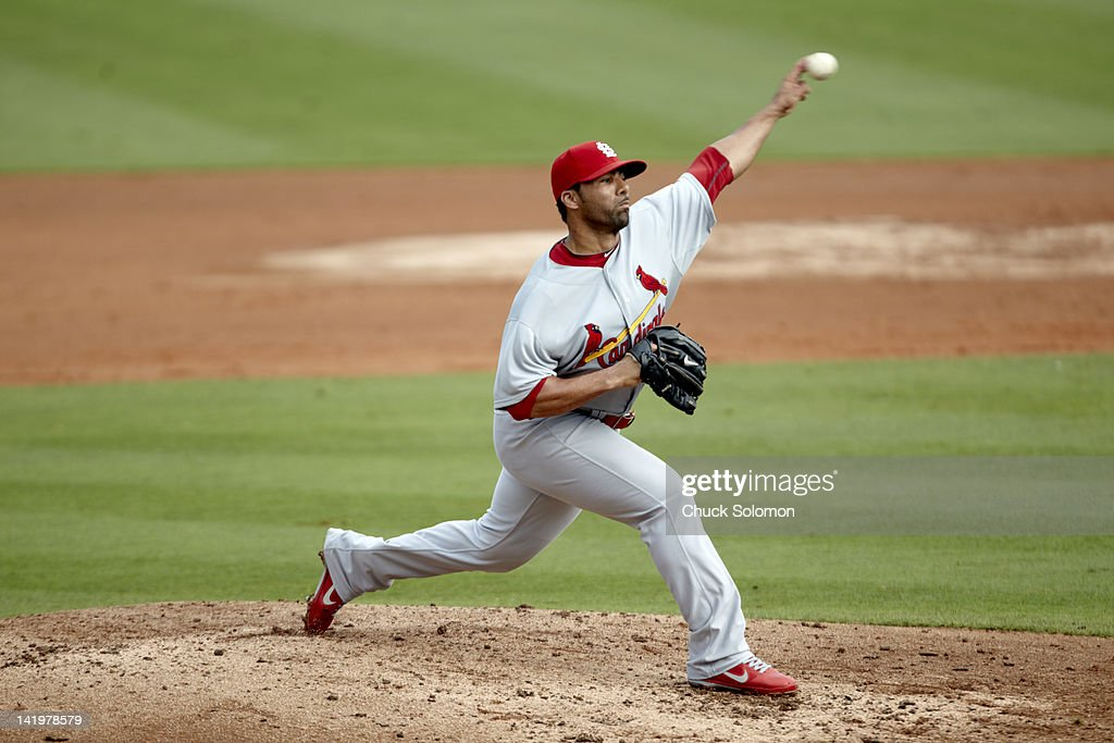 St Louis Cardinals JC Romero in action pitching vs Miami Marlins during spring training at Roger Dean Stadium Jupiter FL CREDIT Chuck Solomon