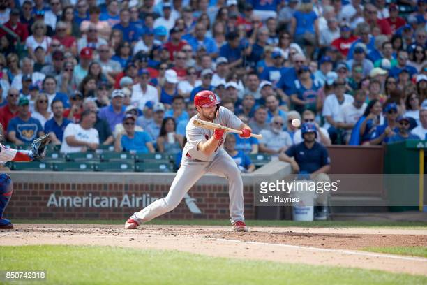 St Louis Cardinals Michael Wacha in action at bat bunting vs Chicago Cubs at Wrigley Field Chicago IL CREDIT Jeff Haynes