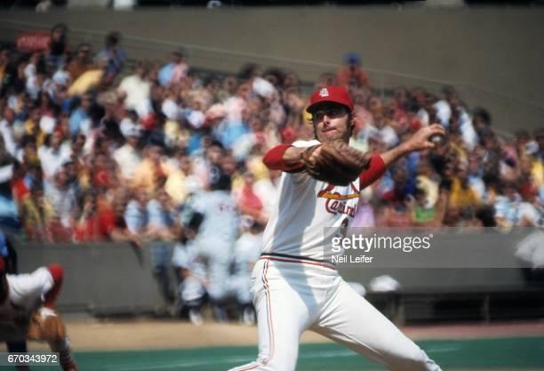 St Louis Cardinals Steve Carlton in action pitching vs Atlanta Braves at Busch Memorial Stadium St Louis MO CREDIT Neil Leifer
