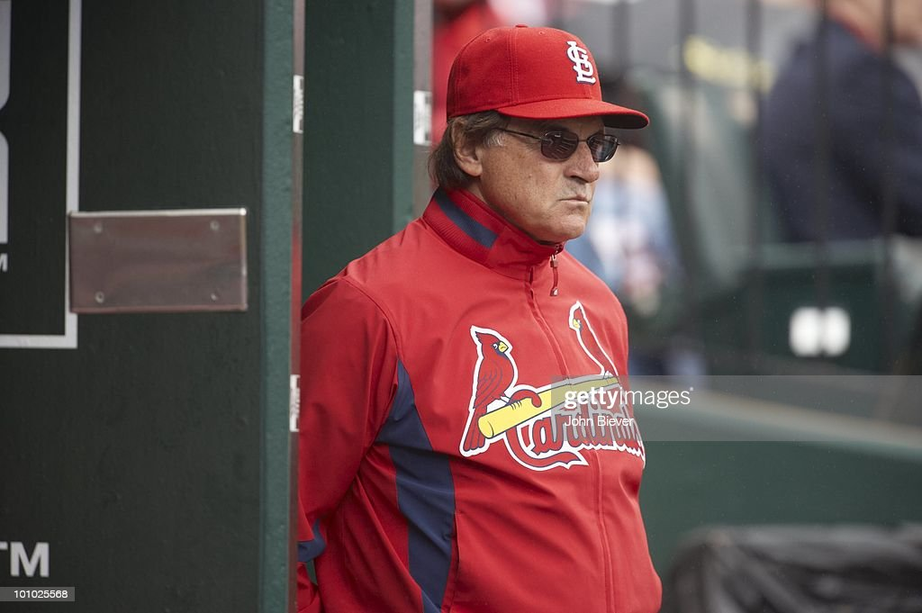 St. Louis Cardinals Tony La Russa (10) in dugout during game vs Florida Marlins. St. Louis, MO 5/20/2010