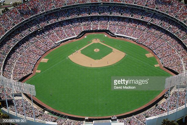 Baseball stadium during game, aerial view